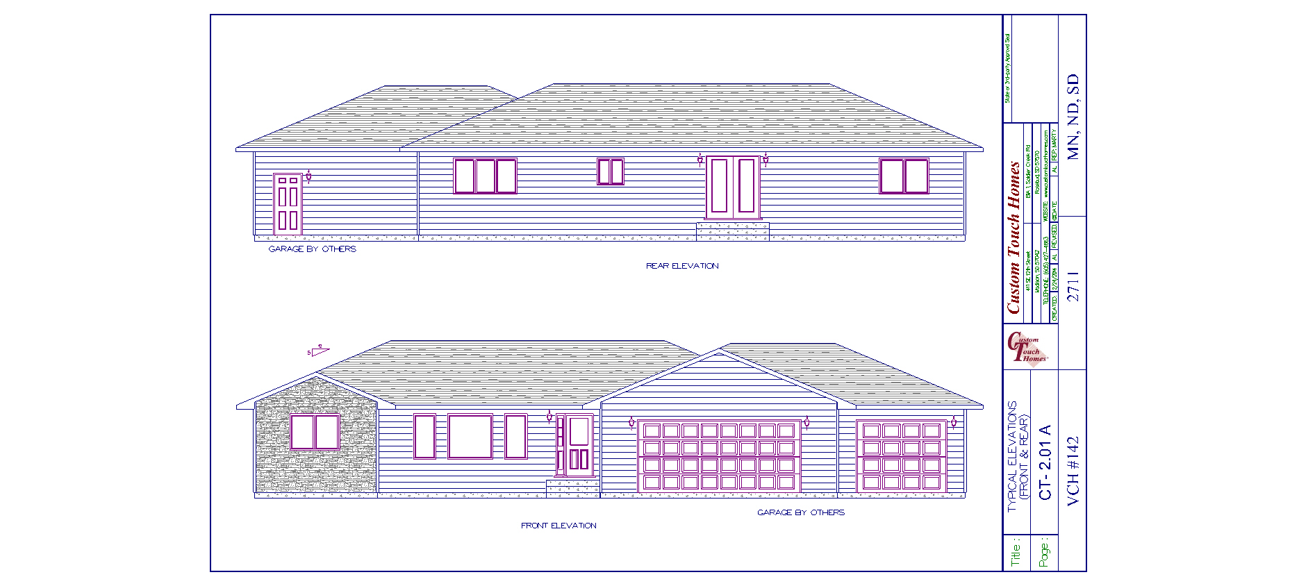 Front and rear elevation with garage custom touch homes for What is rear elevation