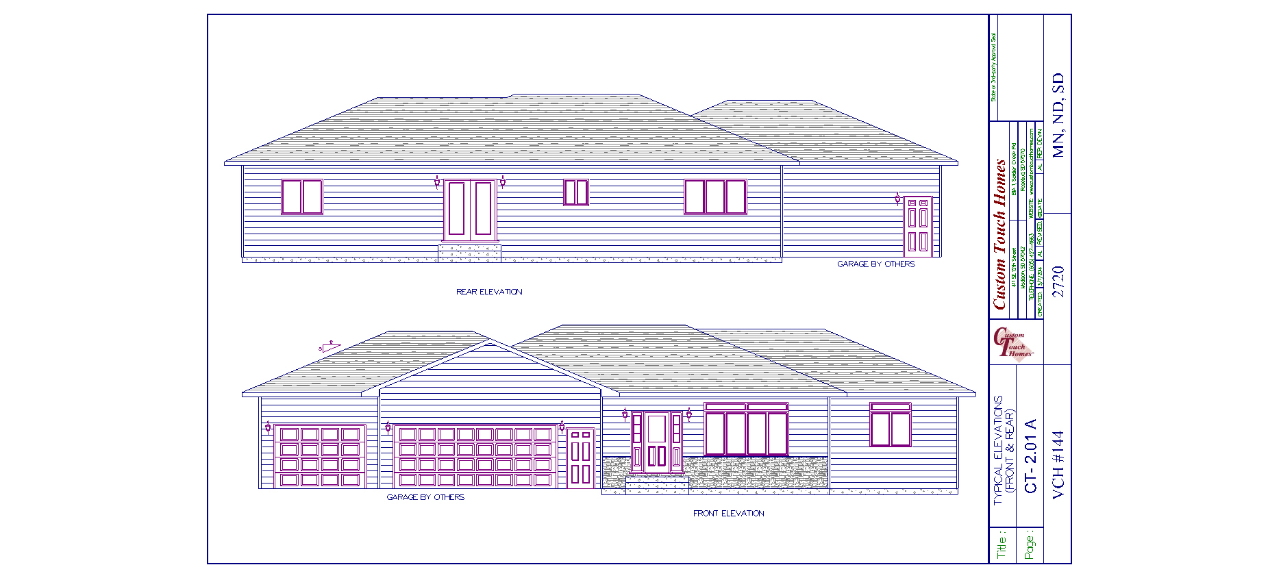 Front and rear elevation custom touch homes for What is rear elevation